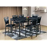 Best Quality Furniture D195Set7PC 7PC Dining Set Faux Marble Top Fabric Upholstered, Black