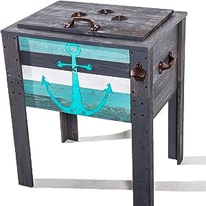 BACKYARD EXPRESSIONS PATIO · HOME · GARDEN 908343 Coastal Design Outdoor Patio Cooler, 45 Quart, Grey/Teal Anchor