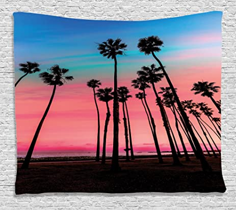 Amazon.com: Palm Tree Decor Tapestry by Ambesonne, Tree Rows in ...