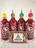 Mixed Flying Goose Sriracha chilli sauce pack (four x 455ml) with special GBS Hot Crushed Chillies