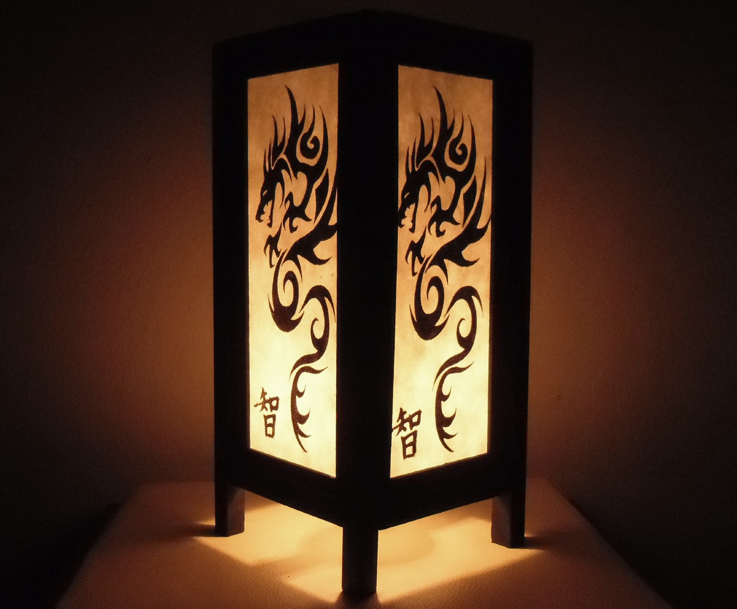 Thai Vintage Handmade Asian Oriental Old White Black China Dragon Bedside Table Light or Floor Wood Paper Lamp Shades Home Bedroom Garden Decor Modern Design from Thailand