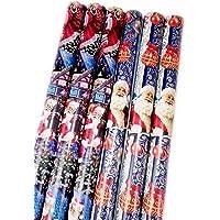 Paperandpicture Lot de 6 rouleaux de papier cadeau Motif Père Noël Bleu 1 m x 70 cm