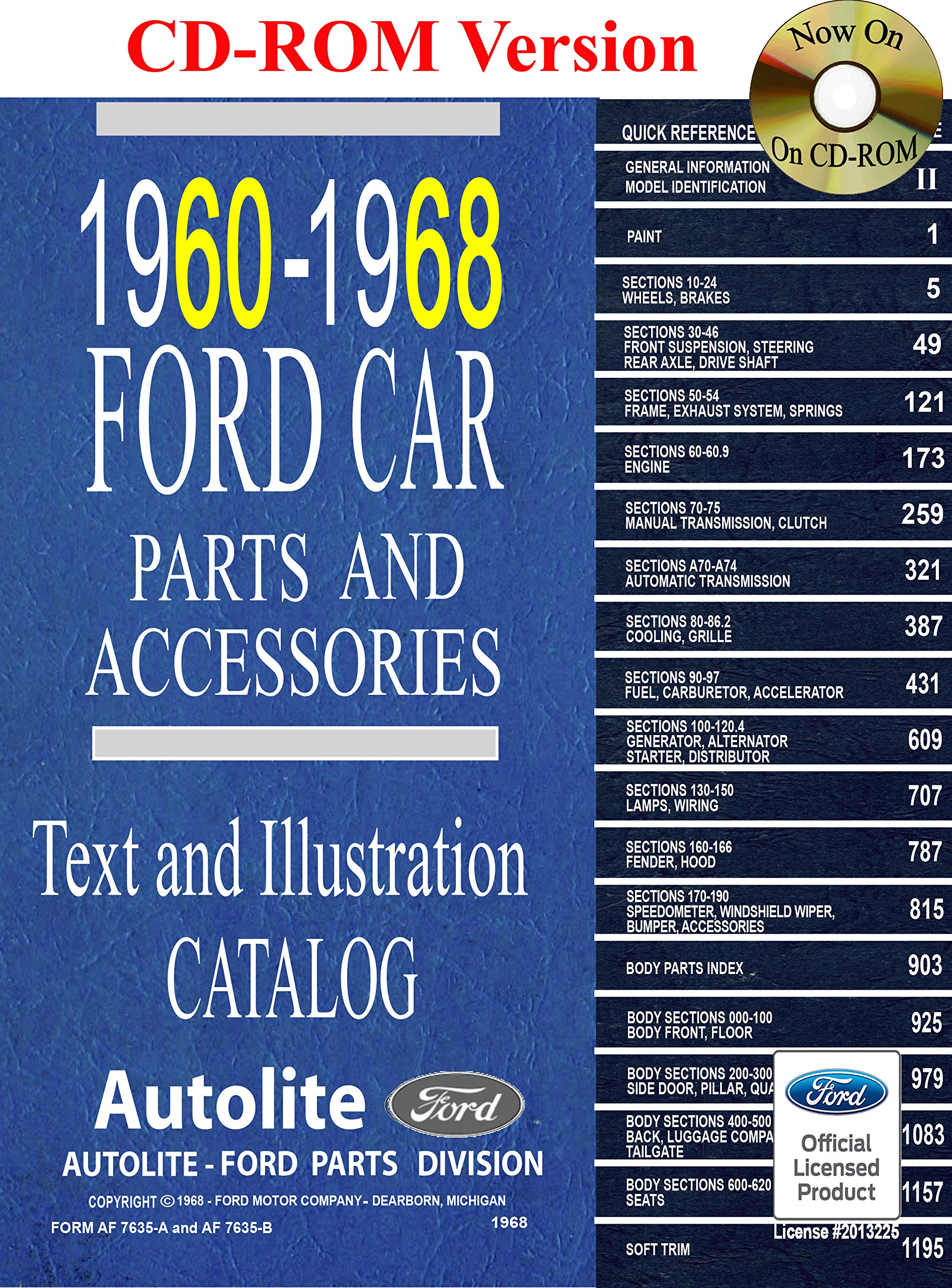 Ford Parts And Accessories >> 1960 68 Ford Car Master Parts And Accessories Catalog Ford Motor