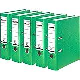 Falken PP-Color Kunststoff-Ordner 8 cm breit DIN A4 Pastell-Farbe hellgrün 5er Pack Ringordner Aktenordner Briefordner Büroordner Plastikordner Schlitzordner