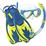 Cressi Rocks Kids Mask, Snorkel & Fins Snorkel Set