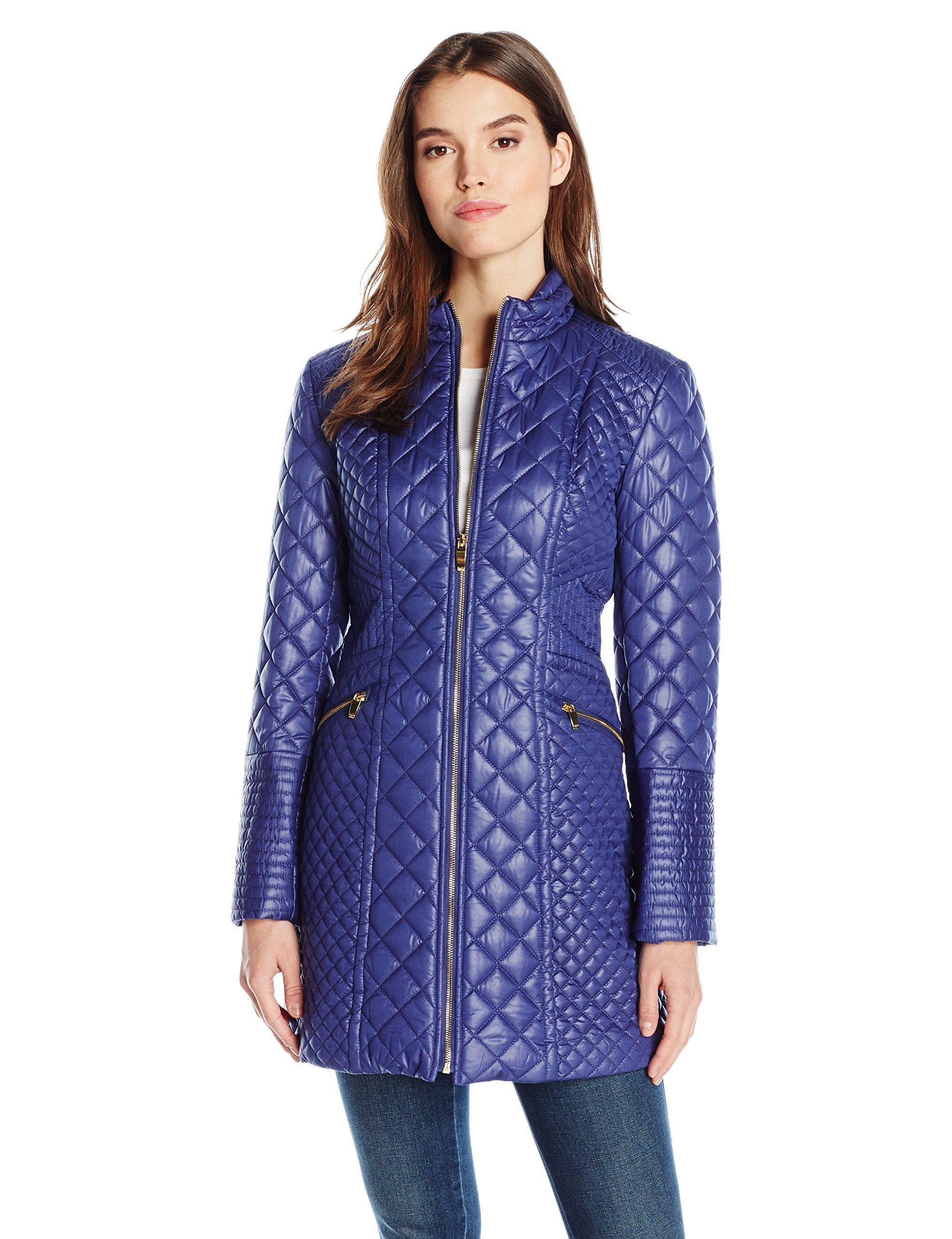 Via Spiga Women's Diamond Quilted Mid-Length Lightweight Jacket, Positano Blue, L
