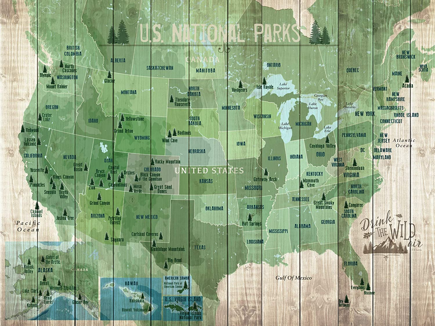 National Parks of USA, American Outdoors, 18X24 Inches, Paper Poster, 60  Parks