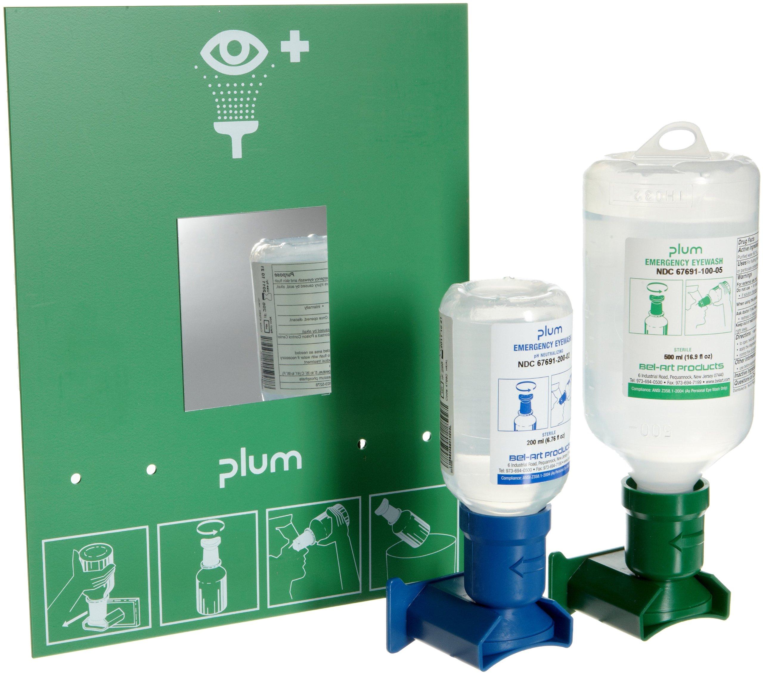PLUM Open Eye Wash Station; 2 Bottles, 200ml Sterile pH Neutralizing, 500ml Sterile Saline (F24880-4003)