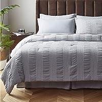 Bedsure 8-Pc. Bed-in-a-Bag Stripe Seersucker Comforter Set