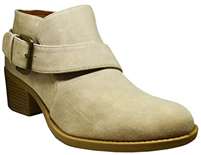 Philly-24 Womens Buckle Wrapped Ankle Bootie Stone Distress PU Size 10