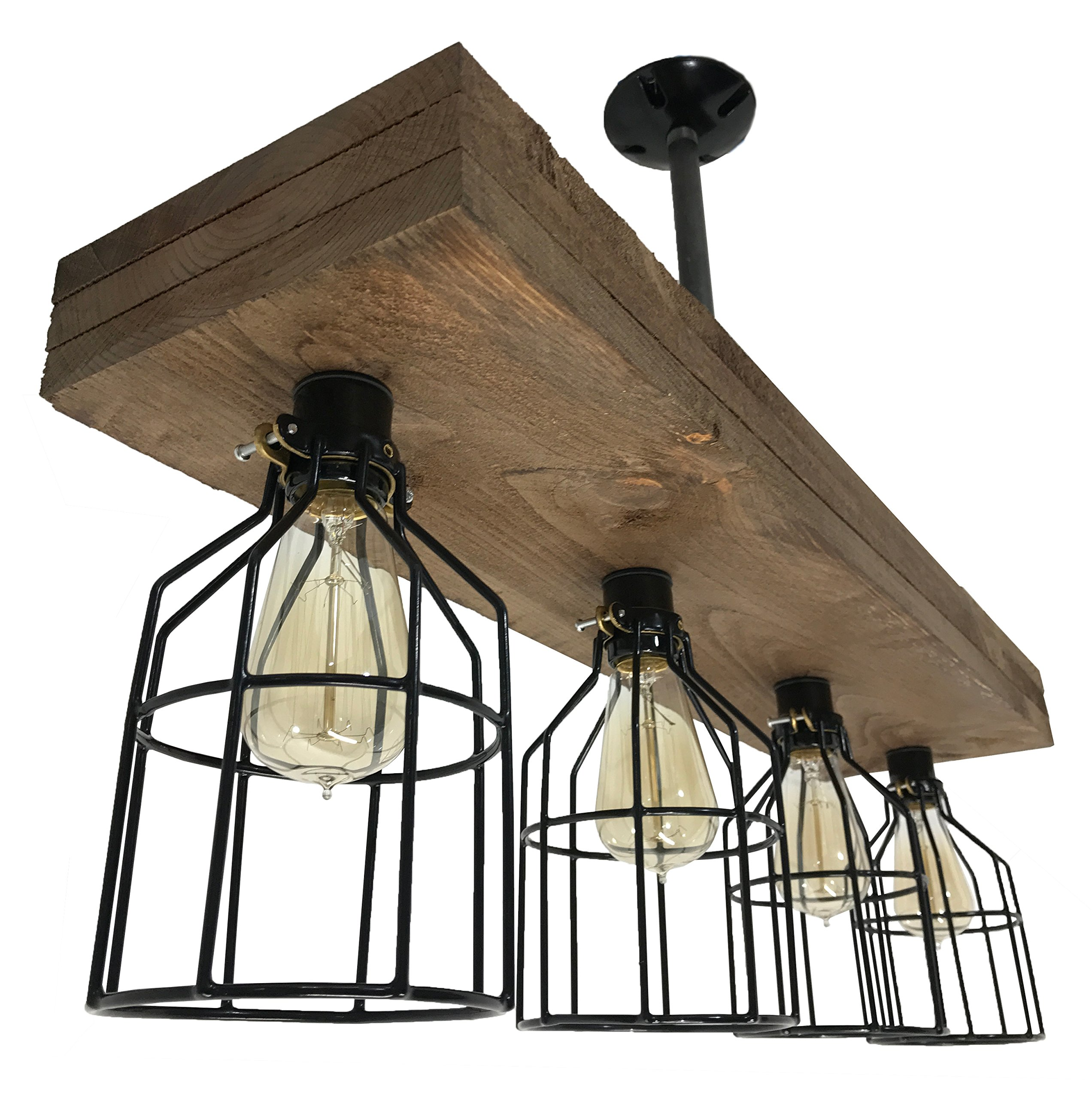 Farmhouse Lighting Triple Wood Beam Vintage Decor Chandelier Light - Great in Kitchen, Bar, Industrial, Island, Billiard, Foyer and Edison Bulb. Wooden Reclaimed Rustic Four Light With Cages by Barrister & Joiner Lighting