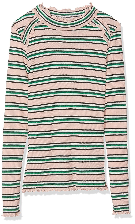 Scotch /& Soda Girls Rib Knit Long Sleeve Tee in Yarn Dye Stripes with Ruffles Top