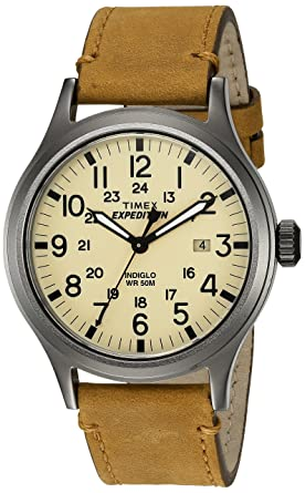 3ea0b99b2898 Timex Men s TWC001200 Expedition Scout Natural Tan Leather Strap Watch