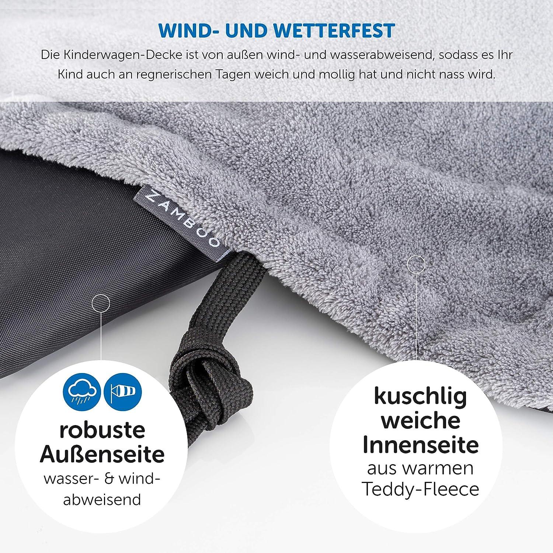 Zamboo All Seasons Stroller Blanket Universal Pushchair Blanket Black Waterproof Blanket for Buggy /& Jogger with Practical Storage Bag