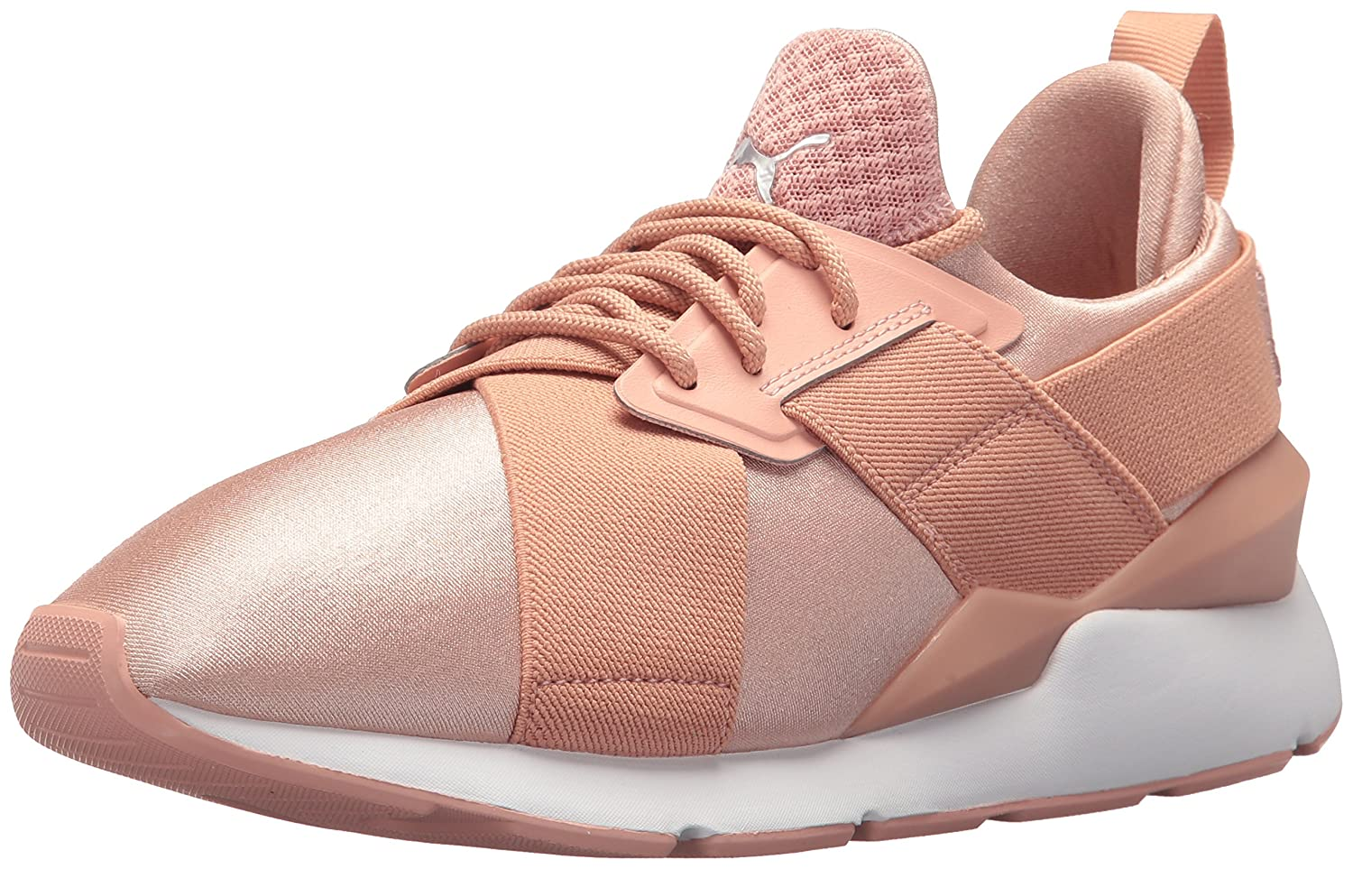PUMA Women's Muse Satin En Pointe Wn Sneaker B0721LGV3F 8.5 B(M) US|Peach Beige-puma White