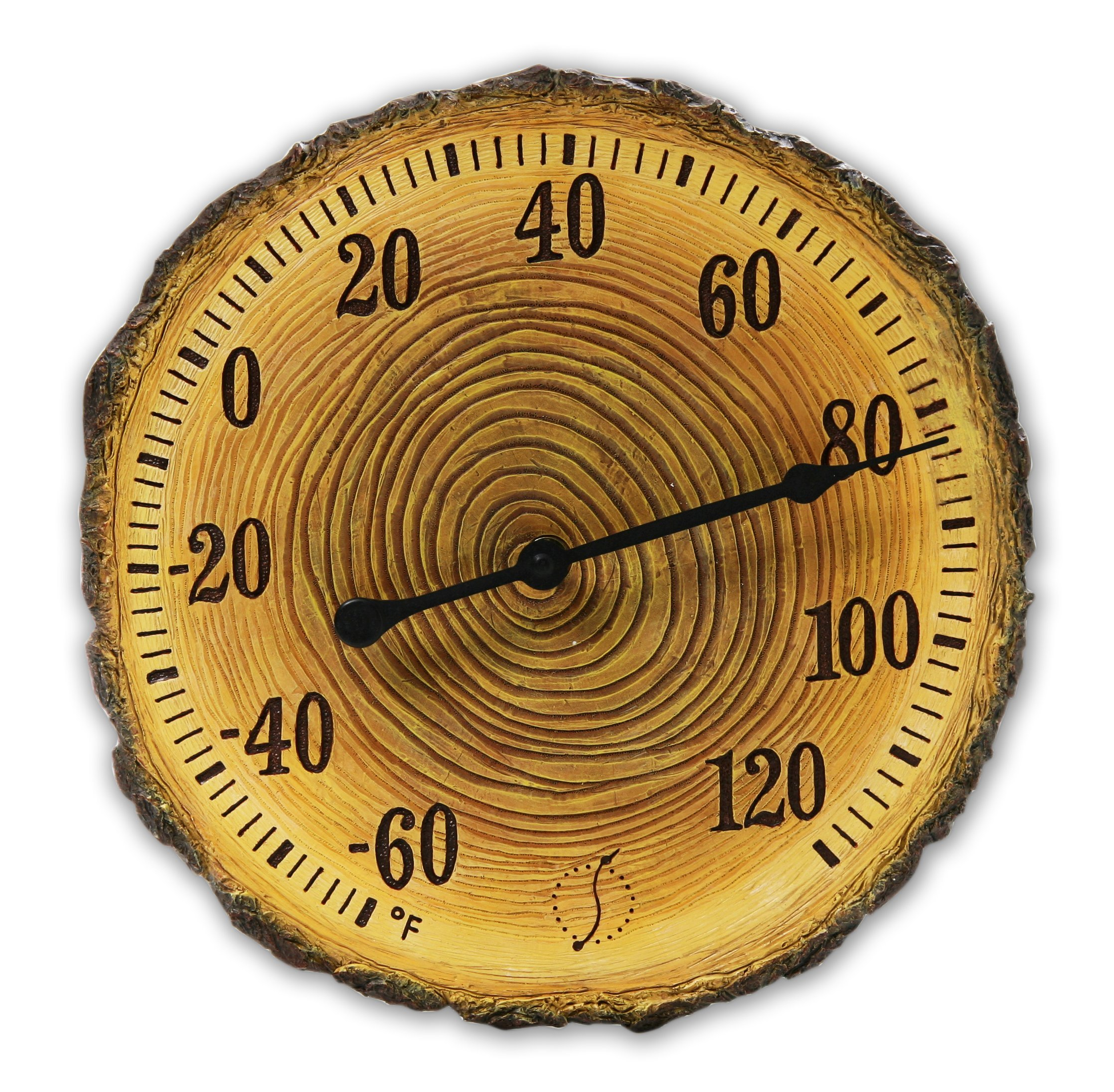 Springfield 91719 12'' Tree Trunk Cross Section Polystone Thermometer