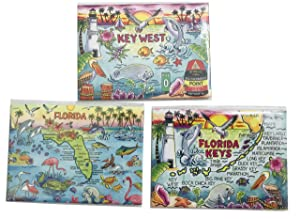Key West Florida Souvenir Magnet Set Embossed Design Fridge Decor, 3 1/2 Inch, Set of 3