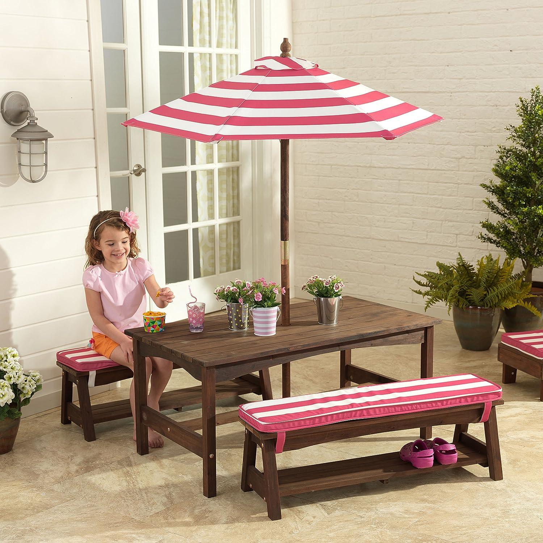 Amazon.com: KidKraft Table, Bench Set Pink U0026 White Outdoor Furniture: Toys  U0026 Games