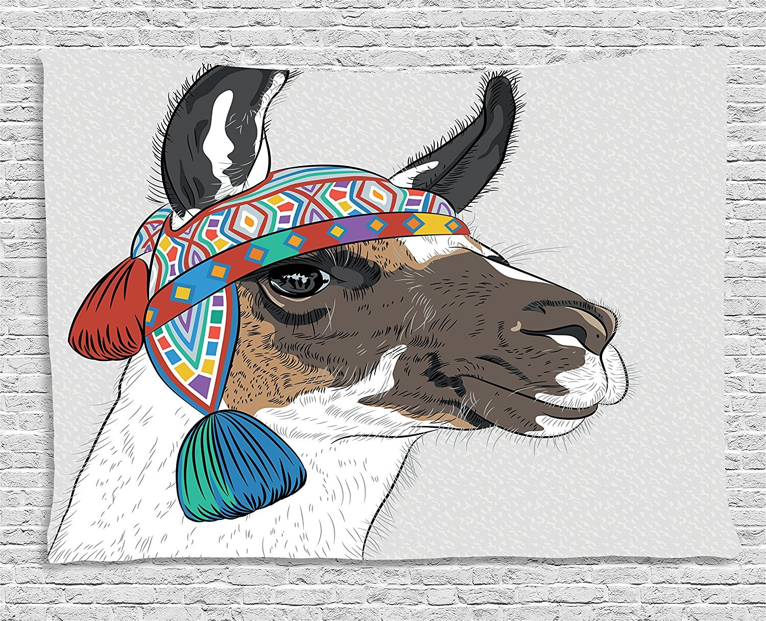 asddcdfdd Llama Tapestry, Alpaca with an Ethnic Colorful Hat Peruvian Sketch Style Animal Abstract Pattern, Wall Hanging for Bedroom Living Room Dorm, 80 W X 60 L Inches, Multicolor