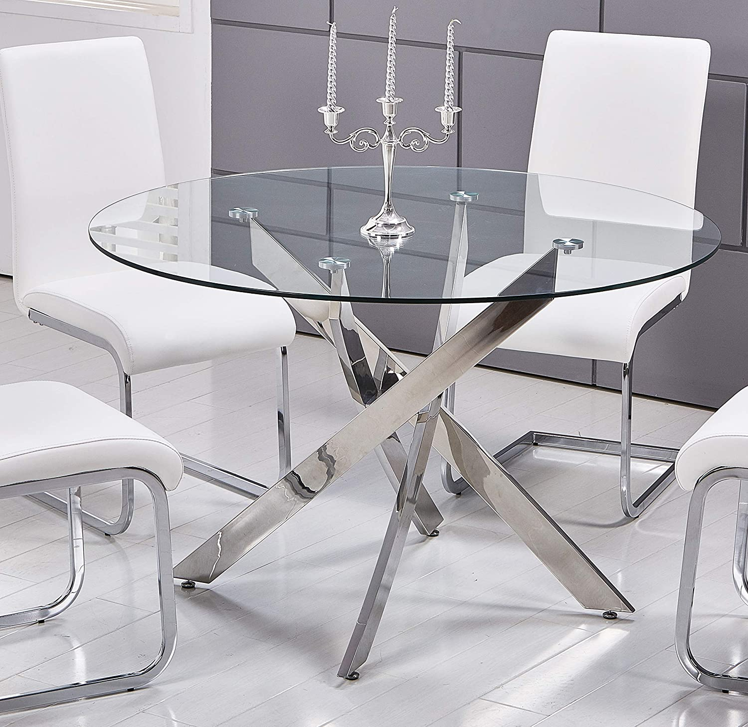 Best Master Furniture Mirage Glass Top Modern Dining Table Only, Clear