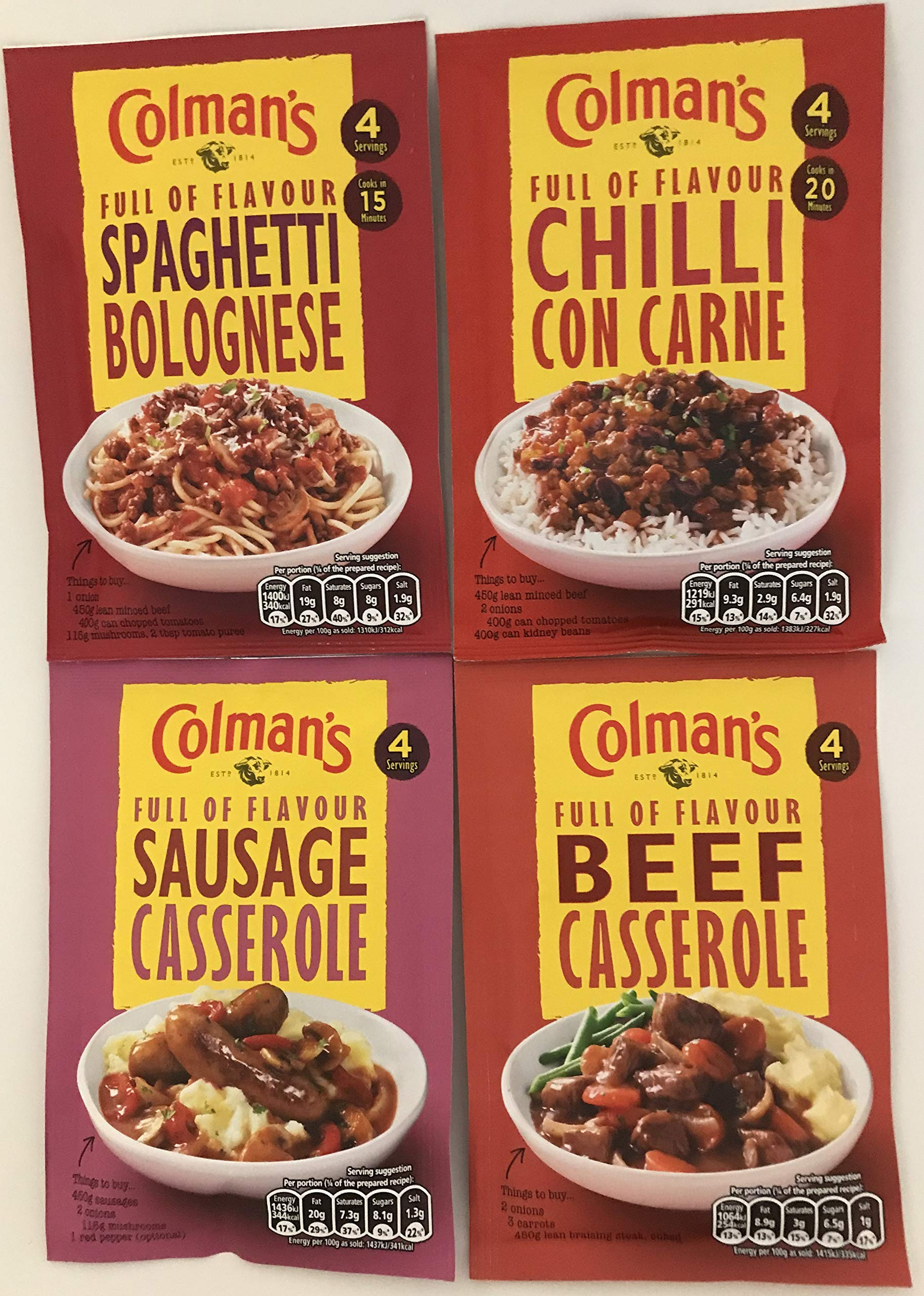 Colman's Full of Flavour Seasoning Mixes Multipack - 2 of Each Flavour - Chilli Con Carne, Spaghetti Bolognese, Beef Casserole, Sausage Casserole