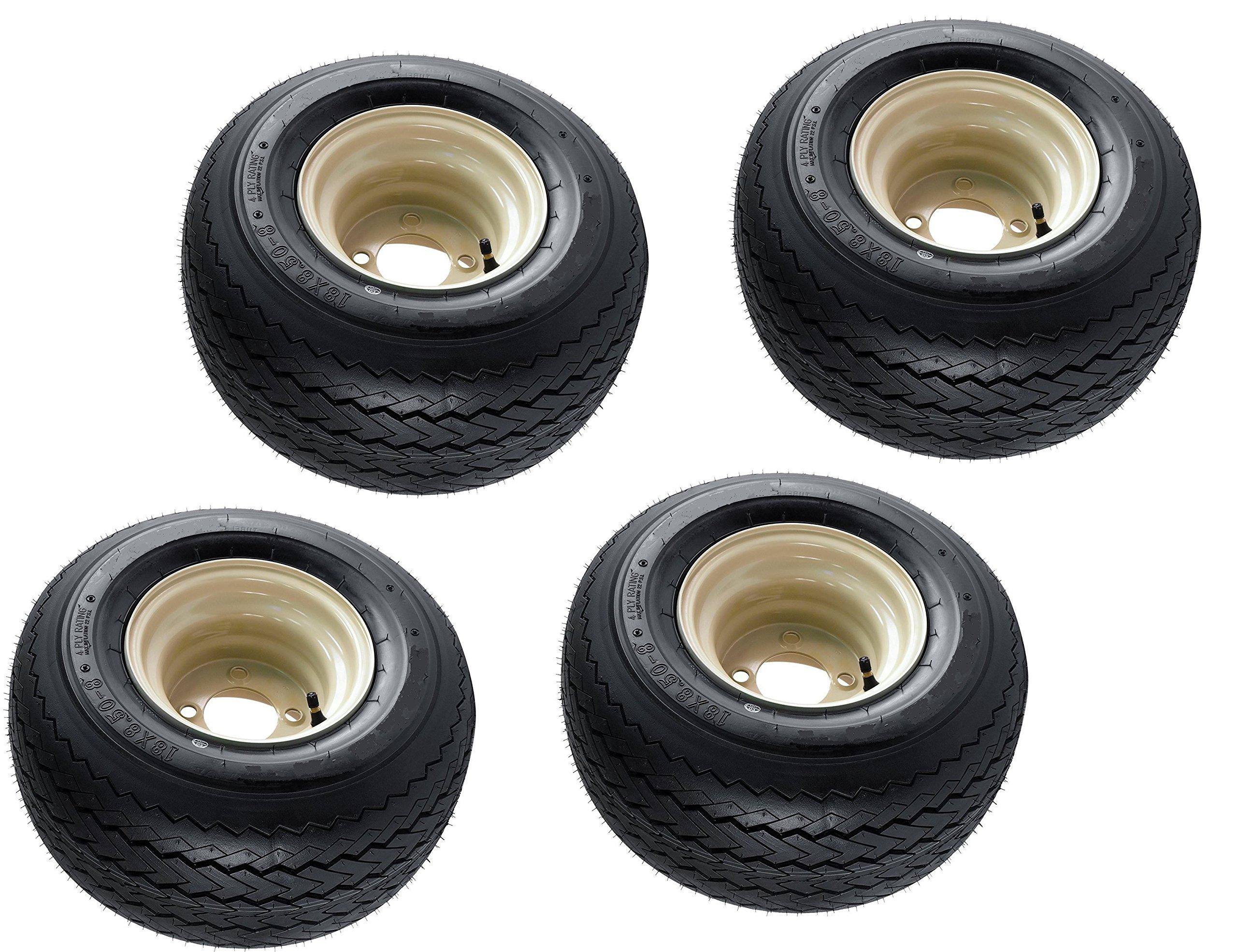 Slasher 18x8.50-8 GTX OEM Golf Cart Wheels and Golf Cart Tires Combo - Set of 4 (18x8.5-8, Beige)