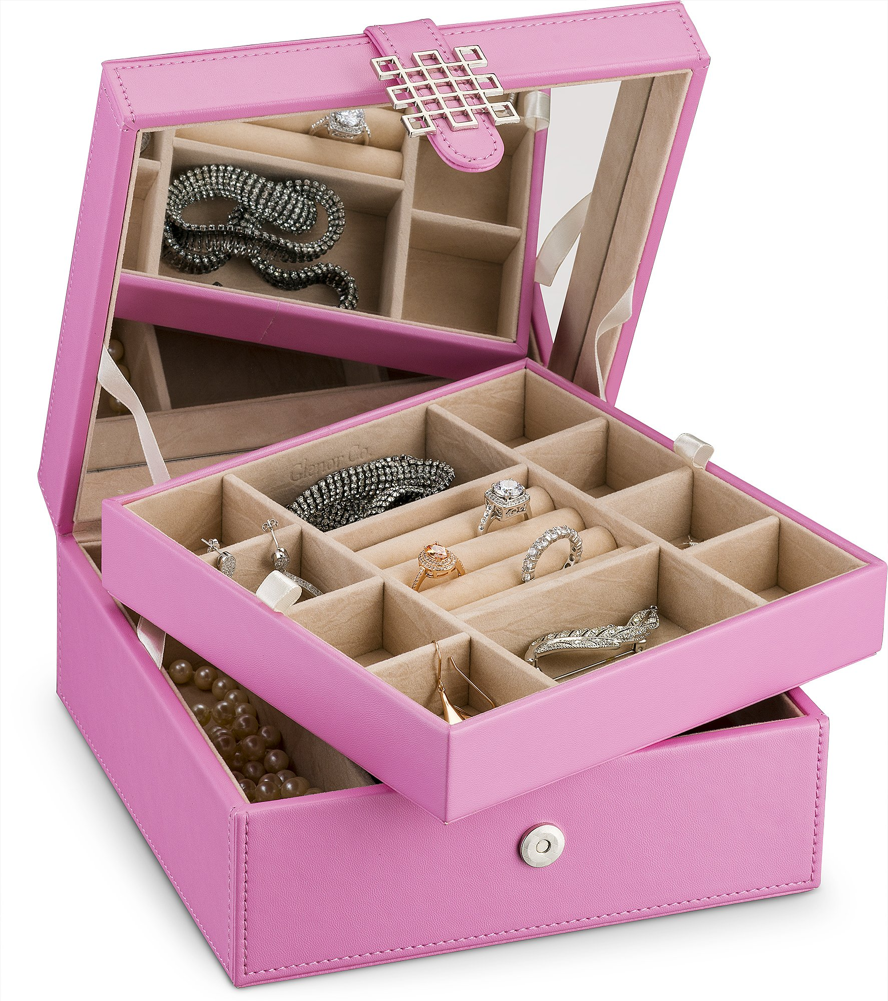 Glenor Co Jewelry Box Organizer for Girls - Small 17 Slot Classic Holder with Modern Closure, Large Mirror, 2 Trays for Women & Teens - Storage Case for Earring Ring Necklace Bracelet -PU Leather Pink