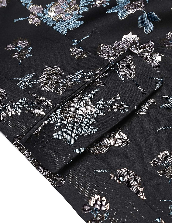 COOFANDY Mens Shiny Luxury Casual Floral Party Blazer Jacket one Button Velvet Tuxedo Jacket