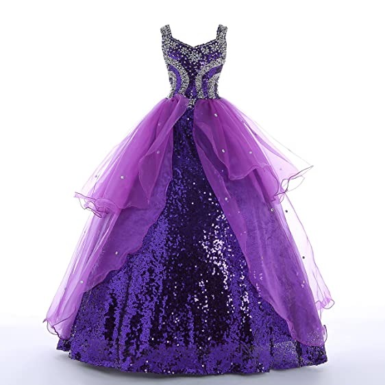 Amazon.com: Big Girls\' Ball Gowns Sparking Sequined Long Party ...