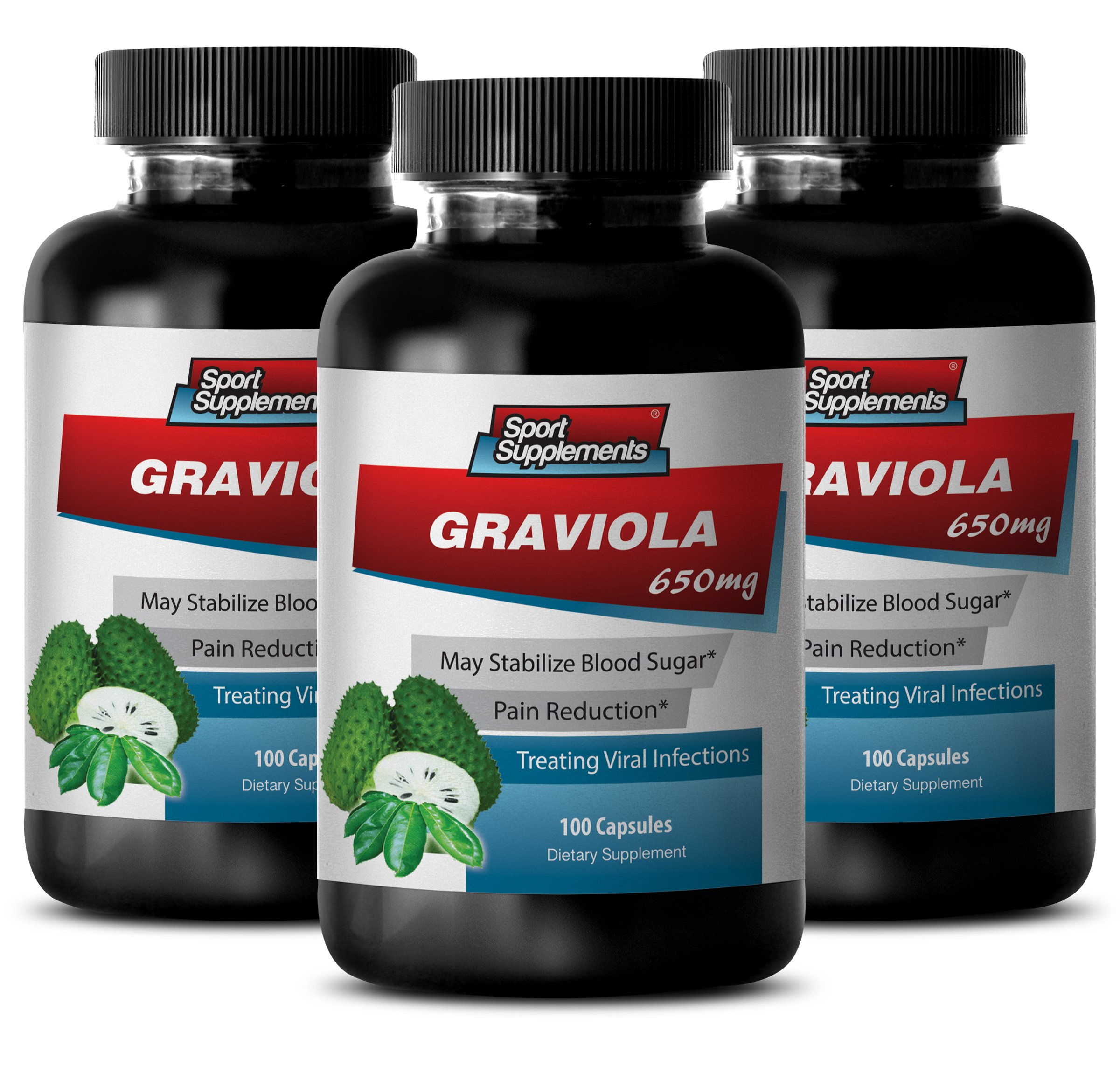 Guanabana capsules - Graviola 650mg - High in potassium (3 Bottles - 300 Capsules)