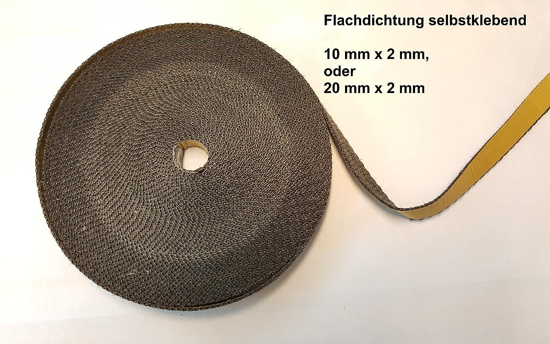 Cinta de fibra de vidrio plana para estufas, tubos o ahumadores, 10 x 2 mm, hasta 550°C, libre de asbesto, autoadhesiva, calidad de comercio especializado