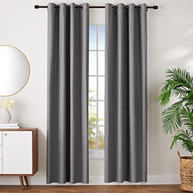 AmazonBasics Room Darkening Blackout Window Curtains with Grommets Set, 52  x 96 , Dark Grey