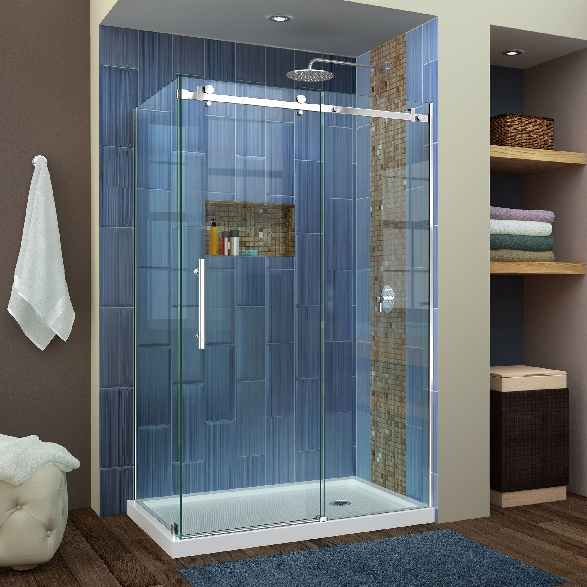 DreamLine SHEN-6434480-08 Enigma Air 48-3/8 In. W x 34-3/4 In. D Frameless Shower Enclosure In Polished Stainless Steel