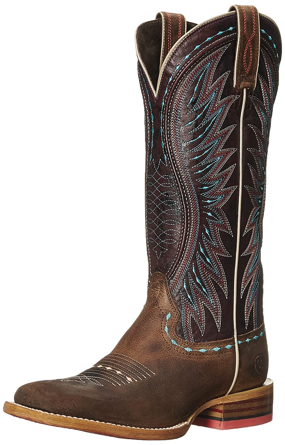 Ariat Women's Vaquera Western Cowboy Boot B013J00N2C 6.5 B(M) US|Khaki/ Sunset Purple