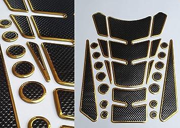 Tankpad Tankschutz Motorrad Carbon Optik Gold Schwarz Universal Mehrteilig Auto