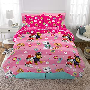 Franco Kids Bedding Super Soft Comforter and Sheet Set with Bonus Sham, 7 Piece Full Size, Paw Patrol Pink