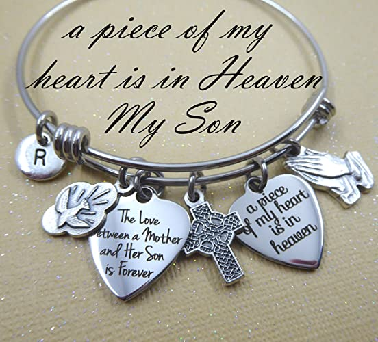 Grieving Mother Sympathy Bereavement Gift Son Memorial Bangle Bracelet 4 Sizes A Piece of My Heart Is In Heaven