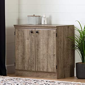 South Shore Morgan Small 2-Door Storage Cabinet-Weathered Oak