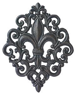 LuLu Decor, Cast Iron Fleur De Lis Decoration Plaque (Plaque)