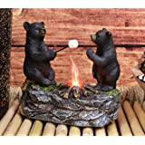 Ebros Whimsical Rustic Forest Black Bear Warming Hands By Campfire Led Night Light Statue 10 High Woodland Cabin Lodge Decor Bears Figurine For Mantelpiece Shelves Tables Decorative Home Accent Home