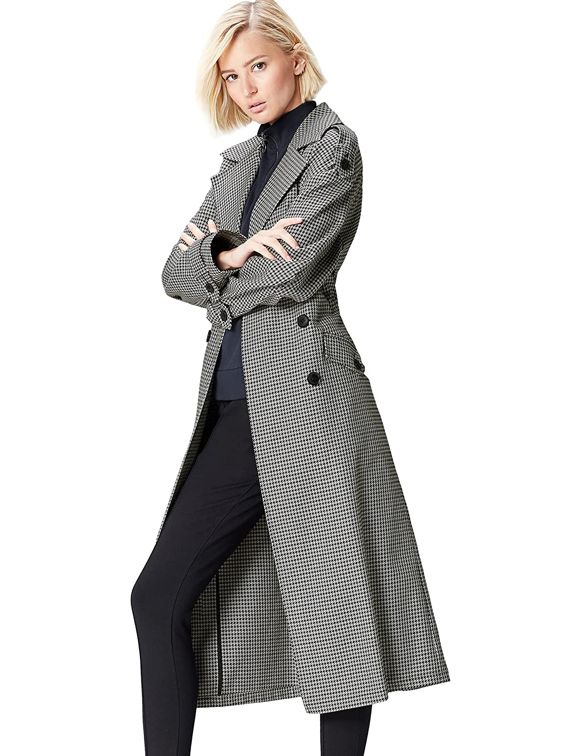shoes for cheap Sales promotion outlet sale Amazon Brand - find. Women's Check Trench Coat