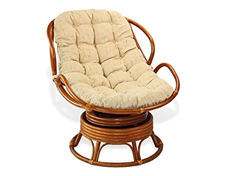 Handmade Rattan Wicker Swivel Rocking Chelsea Papasan Chair With Thick  Cream Cushion.Colonial