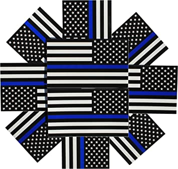 3x5 in 10-Pack Reverse Thin Blue Line Flag Decals Black White and Blue American Flag Sticker for Cars and Trucks in Support of Police and Law Enforcement Officers Fine Line Flag Backward Auto Decals 10