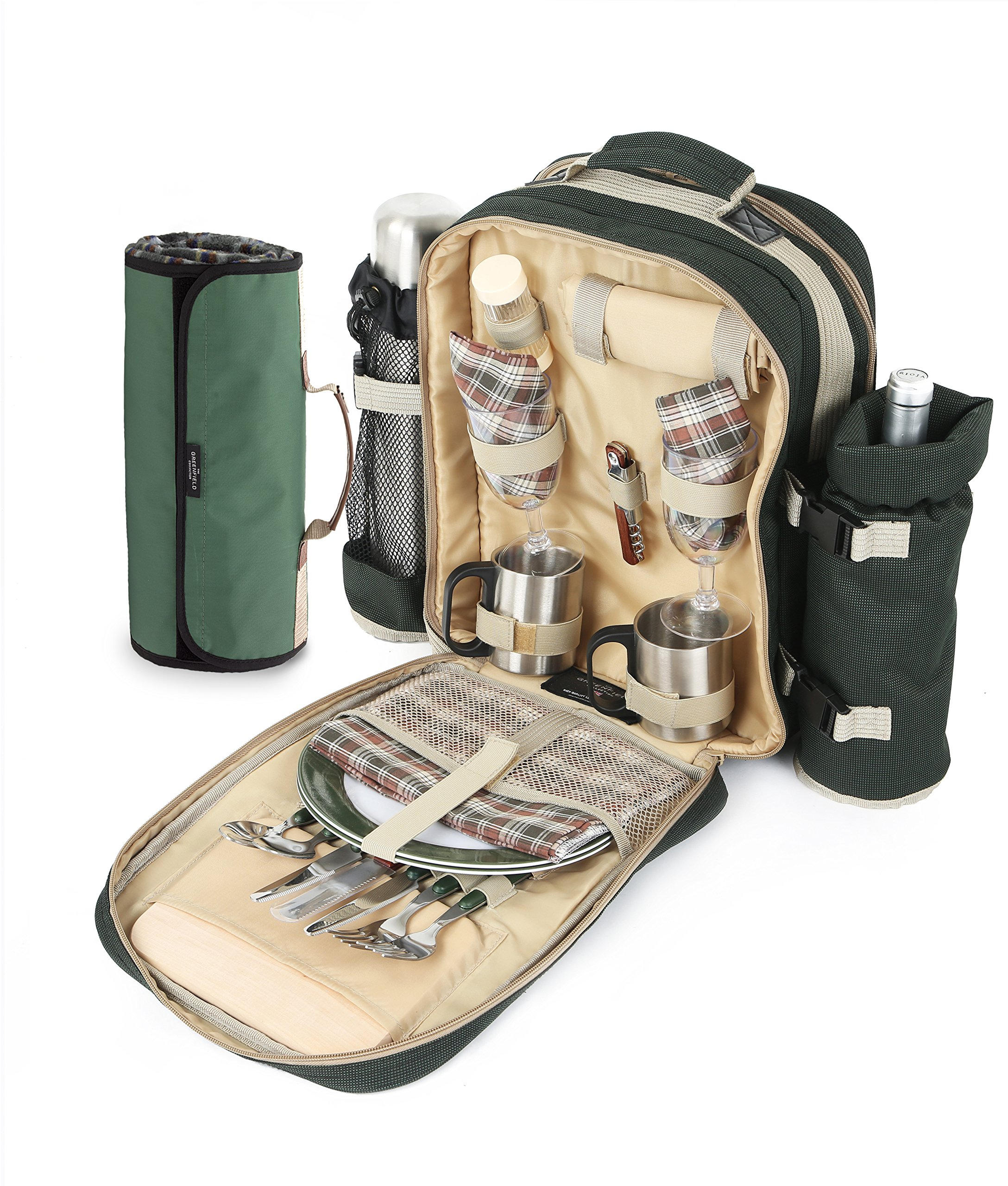 Greenfield Collection Super Deluxe Forest Green Picnic Backpack Hamper for Two People with Matching Picnic Blanket by Greenfield Collection (Image #1)