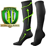 Bams Odor-Kill Bamboo Black Compression Socks for Men, Women- Antibacterial 15-20 mmHg Medical Graduated Knee-High Sock for Recovery Pain Swelling Injury Sports, Diabetic, Nurse, Maternity, Flight