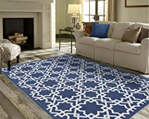 PRIYATE Florida Collection Save 10% on Trellis Tile Living Room / Bedroom Outdoor and Indoor Rug - A Pair of Small and Big Rug.