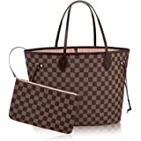 Neverfull Style Canvas Woman Organizer Handbag Damier Tote Shoulder Fashion Bag MM (Medium) Size with Rose Ballerina Lining by Look At My Bags