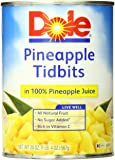 Dole Pineapple Tidbits in Juice, 20 Ounce Cans (Pack of 12)
