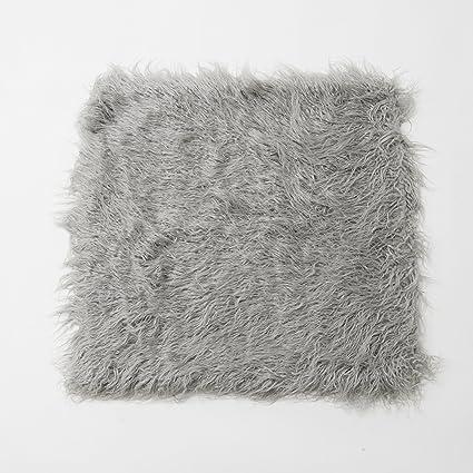 Amazon Best Home Fashion Grey Mongolian Lamb Faux Fur Pillow Classy Grey Faux Fur Pillow Covers