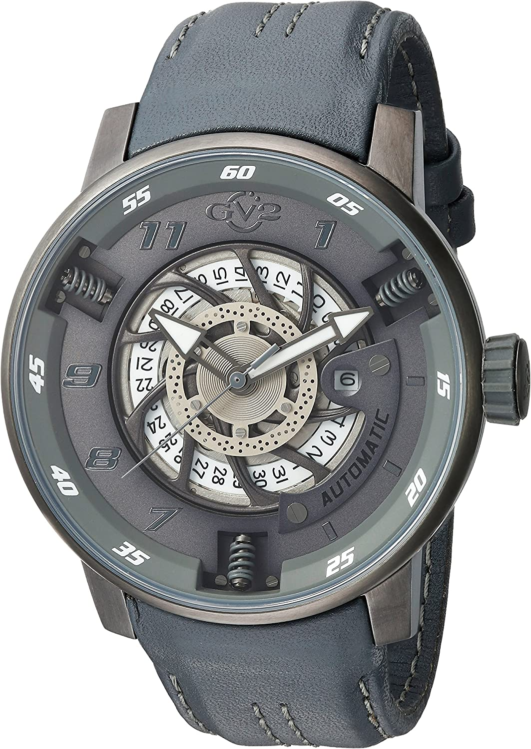 GV2 by Gevril Motorcycle Sport Mens Swiss Automatic Grey Leather Strap Watch, Model 1303